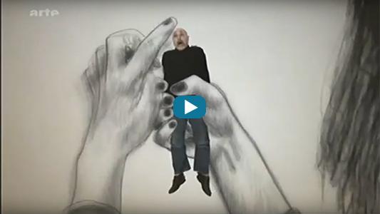 Une femme en dessin prend dans ses mains un homme réel avec inscription Arte.
