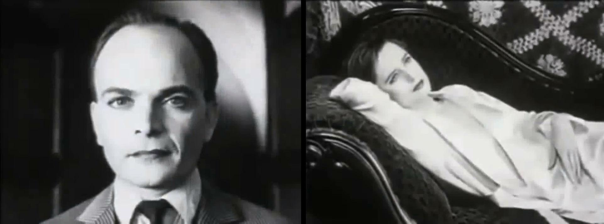 Deux images. À gauche portrait de Koulechov et à droite la femme lascive.