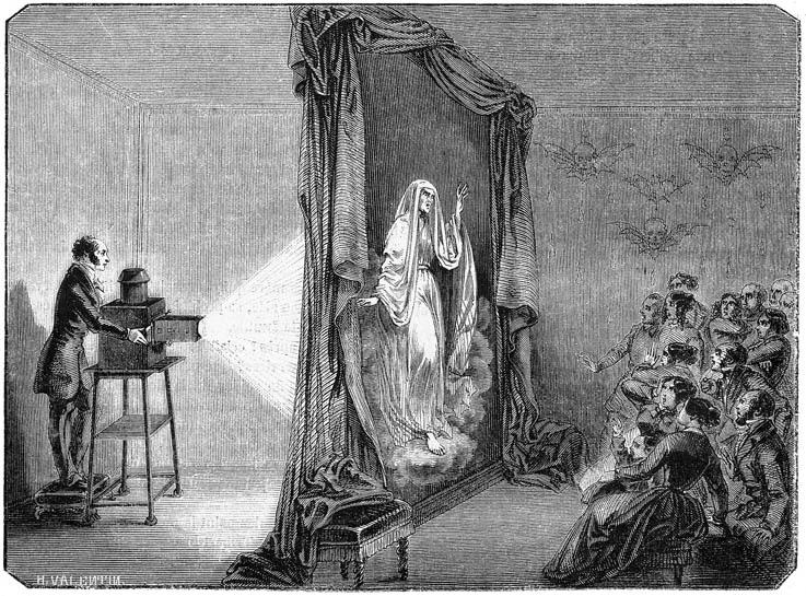 Gravure d'un lanterniste projetant une femme méchante, effrayant les spectateurs.