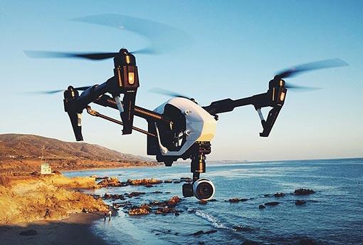 Vue d'un drone pro-dii en l'air