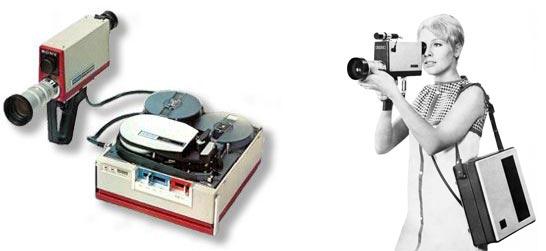 Système Portapak vidéo noir et blanc sur bande lisse.