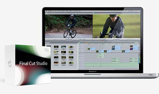 Ordinateur macbook pro avec le logiciel Final cut pro.